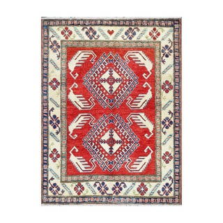 Herat Oriental Afghan Hand-knotted Tribal Vegetable Dye Kazak Wool Rug (3'6 x 4'7)