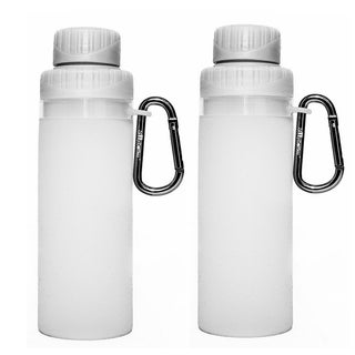 16-ounce White Silicone Foldable Water Bottle (Set of 2)