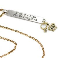 Sweet Romance Motivational Quote 'live the life you've imagined' Inspiration Necklace