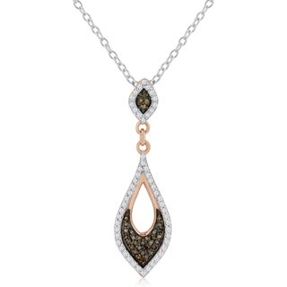 14k Rose Gold 1/4ct TDW Champagne and White Diamond Necklace (H-I, I1-I2)