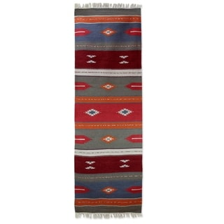 Handcrafted Wool 'Coral Beauty' Runner 2.5x8 (India)