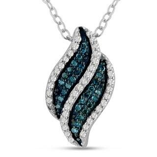 Sterling Silver 1/5ct TDW Blue and White Diamond Swirl Pendant (H-I, I1-I2)