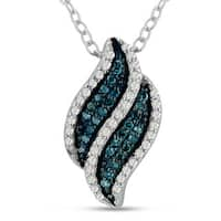 Sterling Silver 1/5ct TDW Blue and White Diamond Swirl Pendant