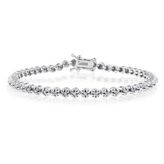 Platinum Over Brass 1ct TDW Round Diamond 7-inch Tennis Bracelet (J-K, I1-I2)