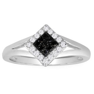 Sterling Silver 1/5ct TDW Black and White Diamond Ring
