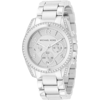 Michael Kors Woman's MK5165 Chronograph White Crystal Stainless Steel Diamond Watch