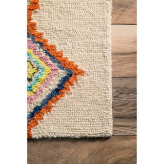 nuLOOM Contemporary Hand Tufted Wool Moroccan Triangle Multi Rug (8'6 x 11'6)