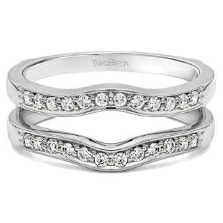 TwoBirch Sterling Silver 1/10ct TDW Channel-set Diamond Contour Ring Guard