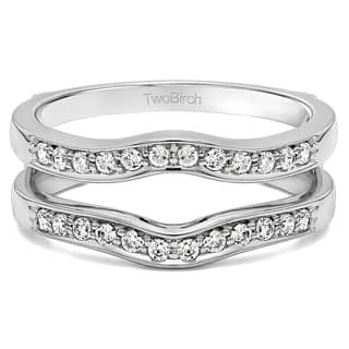 twobirch sterling silver 110ct tdw channel set diamond contour ring guard - Wedding Ring Guard