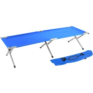 Trademark Innovations Portable Folding Camping Bed and Cot Portable Bed 260-pounds Capacity Blue
