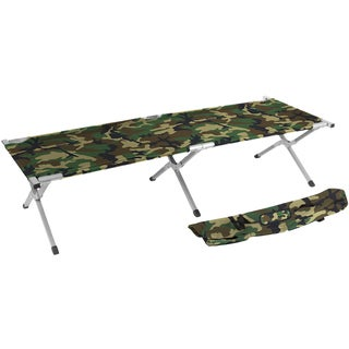 Trademark Innovations Portable Folding Camping Bed and Cot Portable Bed 260-pounds Capacity Camo