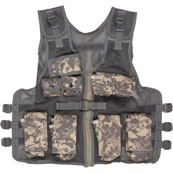 Modern Warrior Junior Tactical Vest Fits 50-125-pounds Airsoft and Paintball Accessory (Digital Camo)