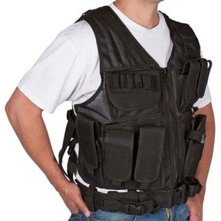 Black Tactical Airsoft and Hunting Vest One Size Fits All by Modern Warrior
