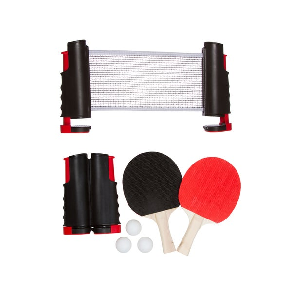 Anywhere Table Tennis Set with Paddles and Balls (Red)