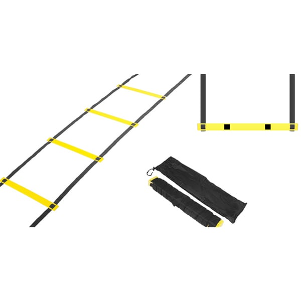Trademark Innovations Agility Ladder 12-rung Training Ladder in Black and Yellow
