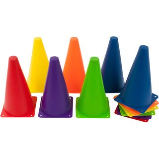 9-inch Plastic Cone Mixed Colors Sports Training Gear (Pack of 12)