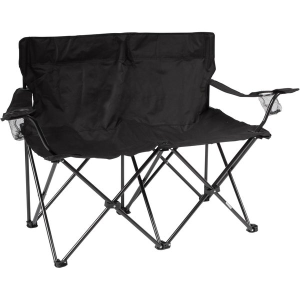 31.5-inch Black Loveseat Style Double Camp Chair with Steel Frame