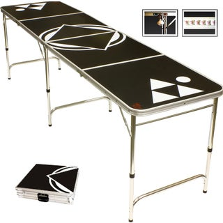 Black Beer Pong Table 8 Feet with Bottle Opener Ball Rack and 6 Pong Balls