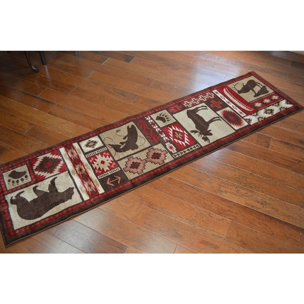 Rustic Lodge Bear Runner Rug (1'11 X 7'4)