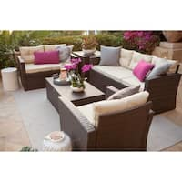 Rio-5 Piece Dark Brown All Weather Wicker Conversation set with Storage and Tan Color Cushions