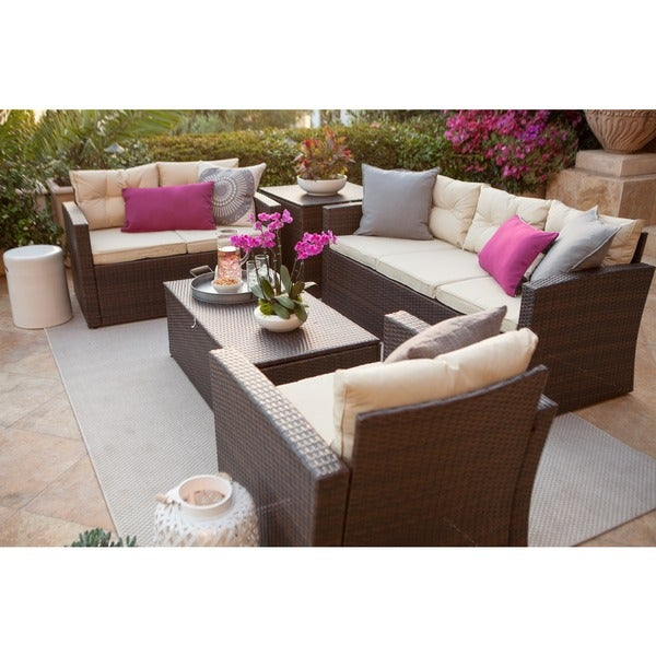 Fashionable All Weather Outdoor Kitchen Ideas One And Only: Shop Rio-5 Piece Dark Brown All Weather Wicker