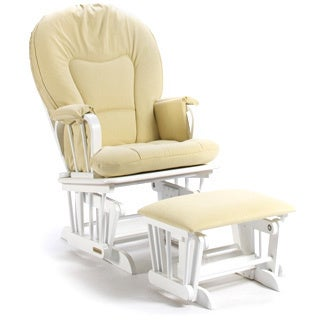Shermag Upholstered White/ Tobago Butter Glider Combo