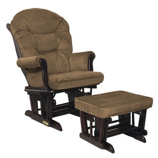 Shermag Black Walnut/ Bella Coffee-Chocolate Glider Combo With Lock Mechanism