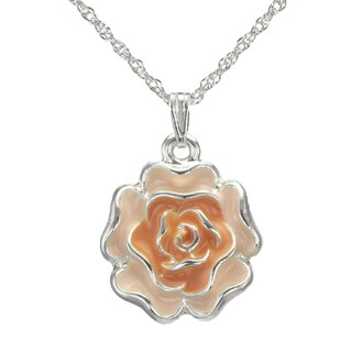 Jewelry by Dawn Orange Enamel Flower French Rope Chain Necklace
