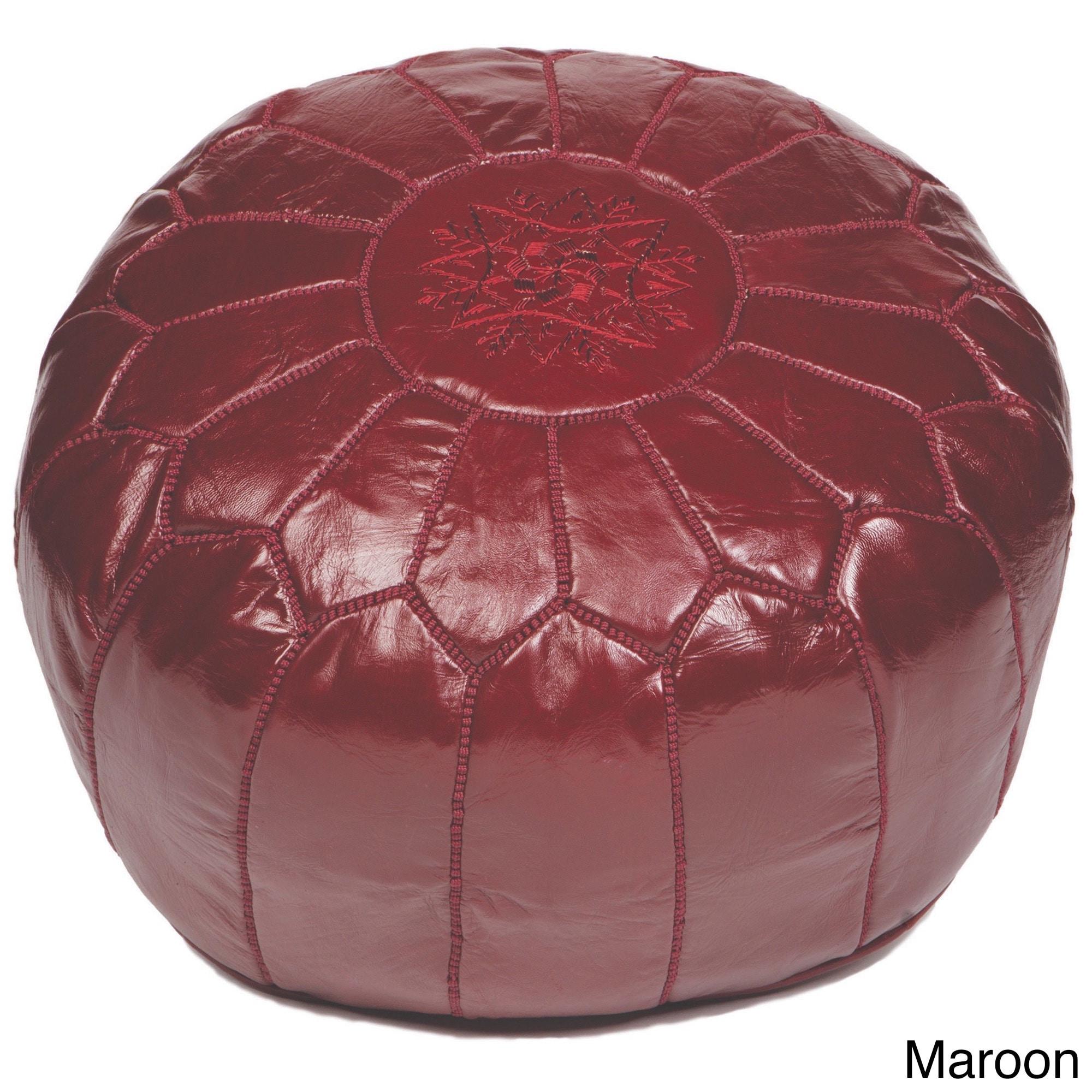Handmade Moroccan Leather Pouf Ottoman (Morocco) (Maroon)...