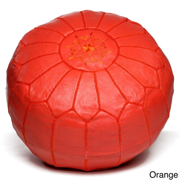Red Moroccan Pouf,Red leather with Black stitching