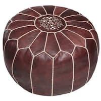Handmade Moroccan Leather Pouf Ottoman (Morocco)