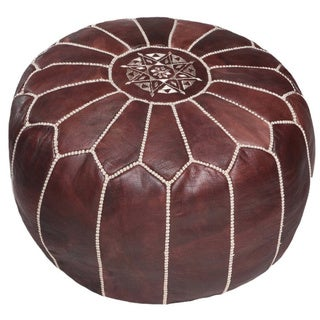 Handmade Moroccan Leather Pouf Ottoman (Morocco) (More options available)