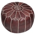 Handcrafted Moroccan Leather Pouf Ottoman (Morocco)