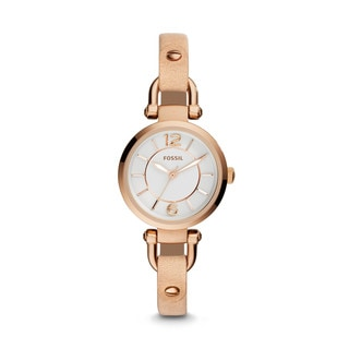 Fossil Woman's ES3745 Georgia Three-Hand Leather Beige Watch