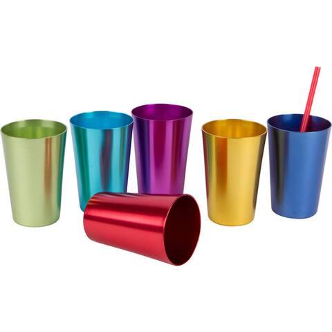 Assorted Retro Multicolored Aluminum Tumblers (Set of 6)