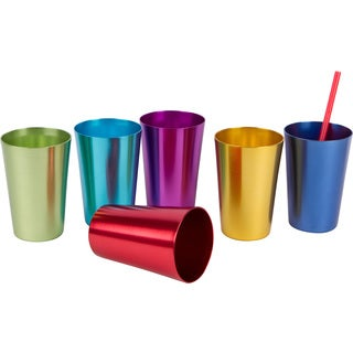 Assorted Retro Multicolored Aluminum Tumblers (Set of 6)