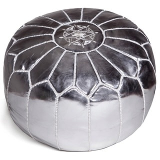 Handcrafted Moroccan Faux Leather Pouf Ottoman (Morocco)