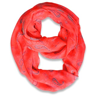 Peach Couture Pink Classic Lightweight Paisley Infinity Loop Scarf