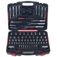 Mechanic's Tool Set- 135 Piece by Stalwart, H& Tool Set Includes -  Screwdriver, Wrench, & Ratchet Set