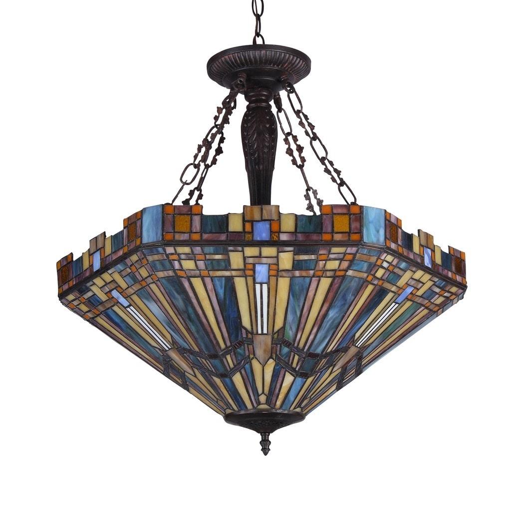 Shop Black Friday Deals On Tiffany Style Mission Design 3 Light Inverted Pendant Overstock 10234964