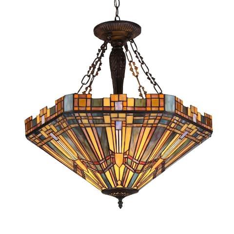 Tiffany-style Mission 3-light Inverted Pendant