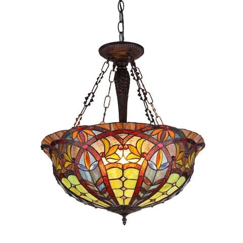 Tiffany Style Victorian Design 3-light Inverted Pendant