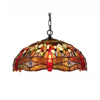 Chloe Lighting Tiffany Style Dragonfly Design 2-light Pendant