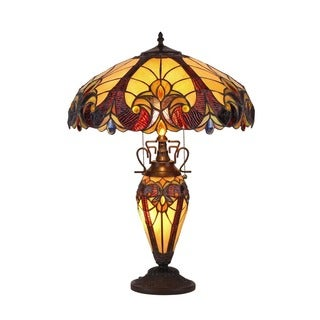 Gracewood Hollow Tolstoy Tiffany Style Double Lit Victorian Design 3 Light  Table Lamp