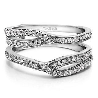 TwoBirch 10k Gold 3/8ct TDW Diamond Infinity Wedding Ring Guard Set