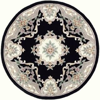 Heritage Black Wool Area Rug (6' Round)