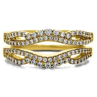 10k Gold 1/2ct Diamond Double Infinity Wedding Ring Guard Enhancer (G-H, I2-I3)
