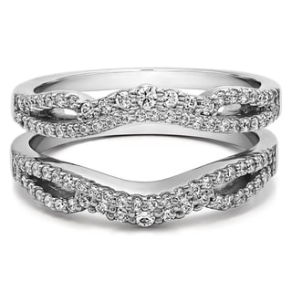 10k Gold 1/2ct Diamond Double Infinity Wedding Ring Guard Enhancer (G-H, I2-I3)