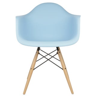 Retro Eames Style Molded Plastic Blue Armchair Set of 2