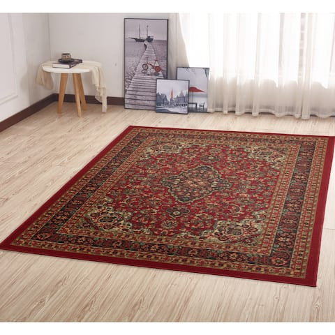 Ottomanson Ottohome Collection Persian Heriz Oriental Design Non Skid Slip Rubber Backing Area